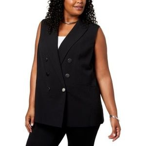 Nine West Plus Sized Double-Breasted Vest
